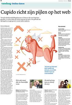 Cupido richt zijn pijlen op het web